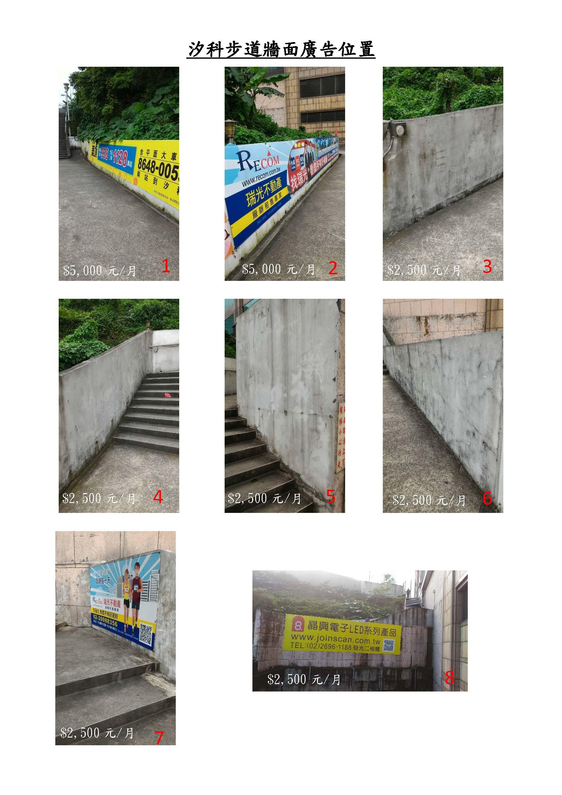 汐科步道牆面廣告位置